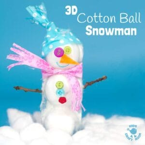 3D COTTON BALL SNOWMAN CRAFT - Here's a snowman craft idea with a difference! Learn how to make a 3D snowmen that really stand up! This is such a fun Winter craft for kids. #christmas #winter #christmascrafts #wintercrafts #snowman #snowmen #snowmancrafts #wintercraftideas #kidscrafts #kidscraftroom