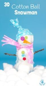 3D Cotton Ball Snowman Craft