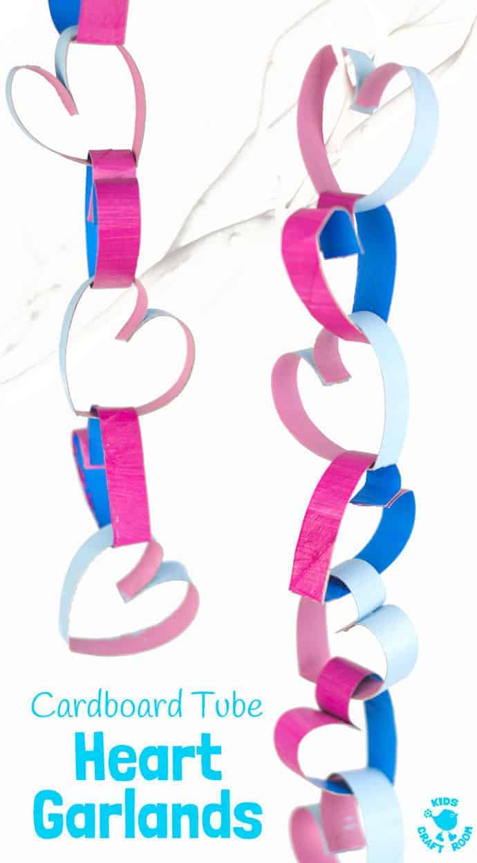 TP Roll Cardboard Tube Heart Garlands look gorgeous! Heart chains make great Valentine's Day or Mother's Day decorations. A fun and easy recycled heart craft for kids.