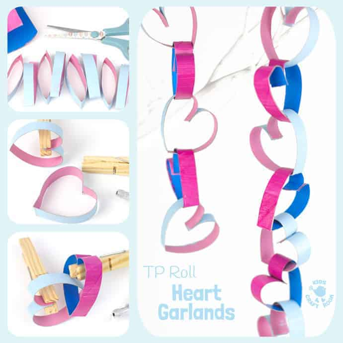 TP Roll Cardboard Tube Heart Garlands look gorgeous! Heart chains make great Valentine's Day or Mother's Day decorations. A fun and easy recycled heart craft for kids. #valentine #valentinesday #valentinescraft #valentinecraft #valentinescrafts #valentinecrafts #valentinesdayforkids #heart #love #heartcrafts #kidscrafts #recycled #recycledcrafts #tprolls #cardboardtubes #cardboardtubecraft #garland #ornament #decoration