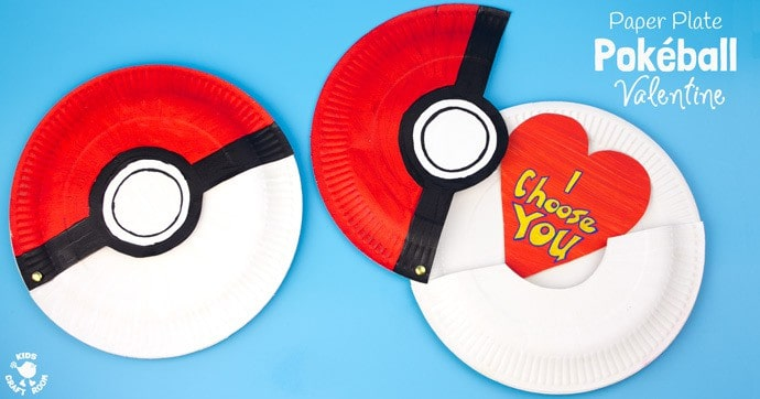 "This Paper Plate Pokeball craft actually opens with storage space inside for figures, or cards! We've turned ours into a cute ""I Choose You"" Pokemon Valentine! This is such a fun Pokemon craft for kids. #valentine #valentinesday #valentinescraft #valentinecraft #valentinescrafts #valentinecrafts #valentinesdayforkids #heart #love #pokemon #pokeball #kidscrafts #paperplatecrafts #paperplate #kidscraftroom"