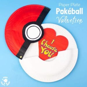 Hinged Paper Plate Pokeball Craft