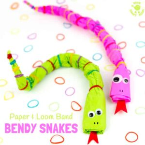 Bendy Paper & Loom Band Snake Craft
