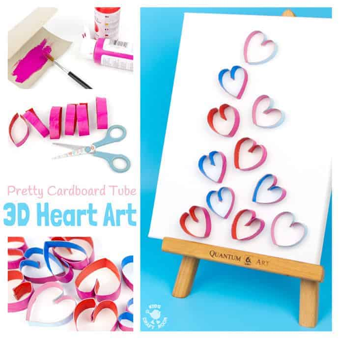 3D CARDBOARD TUBE HEART ART recycles TP rolls into beautiful pictures! Introduce kids to art that isn't flat! Working in 3D can be very exciting! 3D Heart Art is a lovely Valentine's Day craft for kids and makes adorable homemade gifts for Mother's Day or Grandparent's Day. #valentine #valentinesday #valentinescraft #valentinecraft #valentinescrafts #valentinecrafts #valentinesdayforkids #heart #love #kidscrafts #kidsart #kidscraftroom