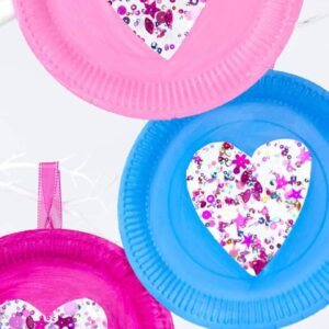 Sequin Paper Plate Heart Suncatchers
