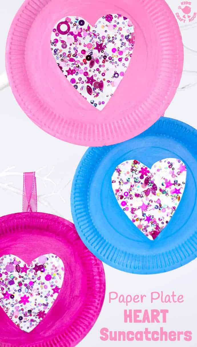 This PAPER PLATE HEART SUNCATCHER CRAFT is gorgeous! A simple heart craft perfect for Valentine\u0027s  sc 1 st  Kids Craft Room & Sequin Paper Plate Heart Suncatchers - Kids Craft Room
