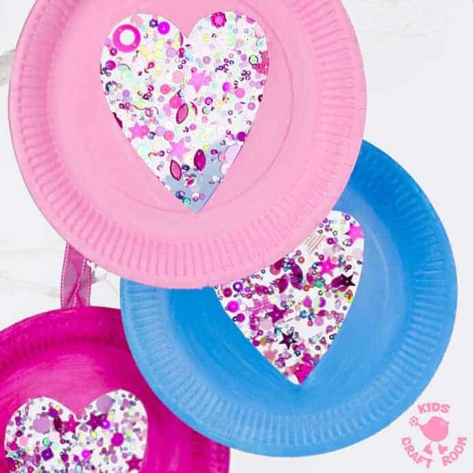 sequin paper plate heart suncatchers kids craft room
