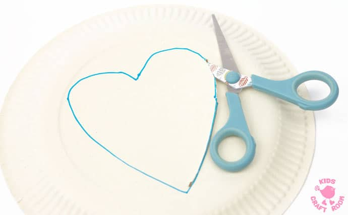Sequin Paper Plate Heart Suncatchers - step 1