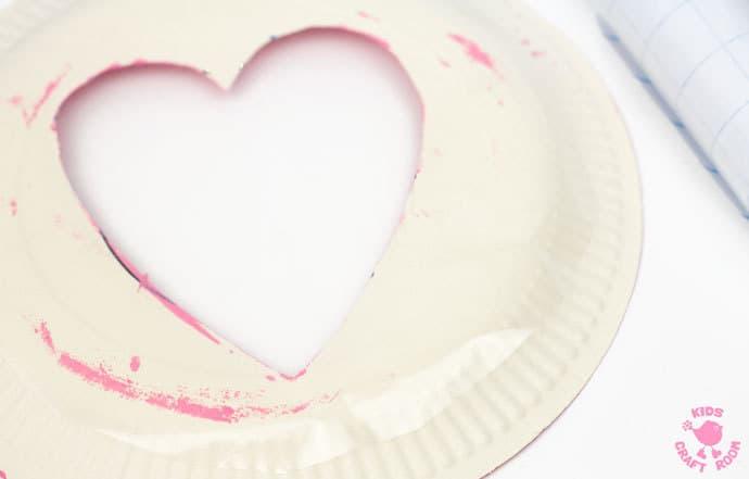 Sequin Paper Plate Heart Suncatchers - step 4