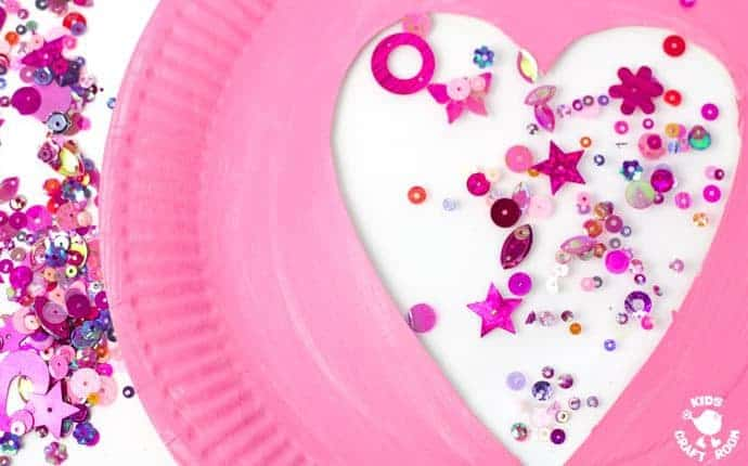 Sequin Paper Plate Heart Suncatchers - step 5