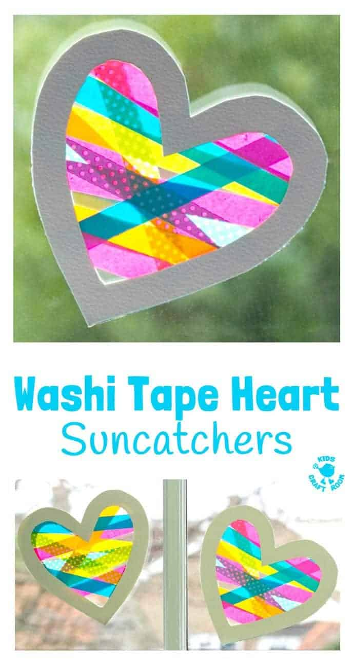 A heart craft with a WOW factor! This Washi Tape Heart Suncatcher craft is simple to make and looks amazing. A great Mother's Day or Valentine's Day craft for kids. #valentine #valentinesday #valentinescraft #valentinecraft #valentinescrafts #valentinecrafts #valentinesdayforkids #hearts #heartcrafts #washitape #washitapecrafts #kidscrafts #kidscraftideas #craftsforkids #kidscraftroom #suncatchers #suncatchercrafts #windowcling #valentinesdaycraft #mothersday #mothersdaycraft
