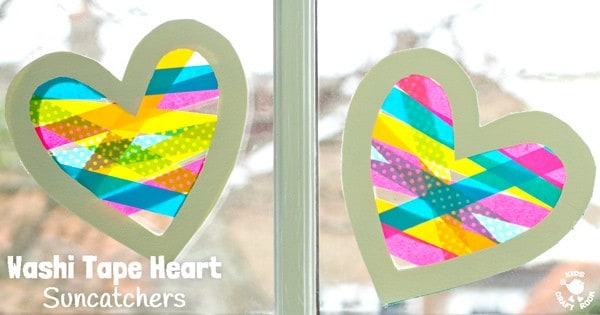 A heart craft with a WOW factor! This Washi Tape Heart Suncatcher craft is simple to make and looks amazing. A great Mother's Day or Valentine's Day craft for kids. #valentine #valentinesday #valentinescraft #valentinecraft #valentinescrafts #valentinecrafts #valentinesdayforkids #heart #love #heartcrafts #washitape #washitapecrafts #kidscrafts #kidscraftideas #craftsforkids #kidscraftroom #suncatchers #suncatchercrafts #windowcling #valentinesdaycraft #mothersday #mothersdaycraft