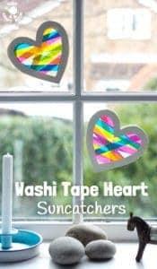 Washi Tape Heart Suncatcher Craft