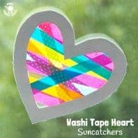 Washi Tape Heart Suncatcher Craft