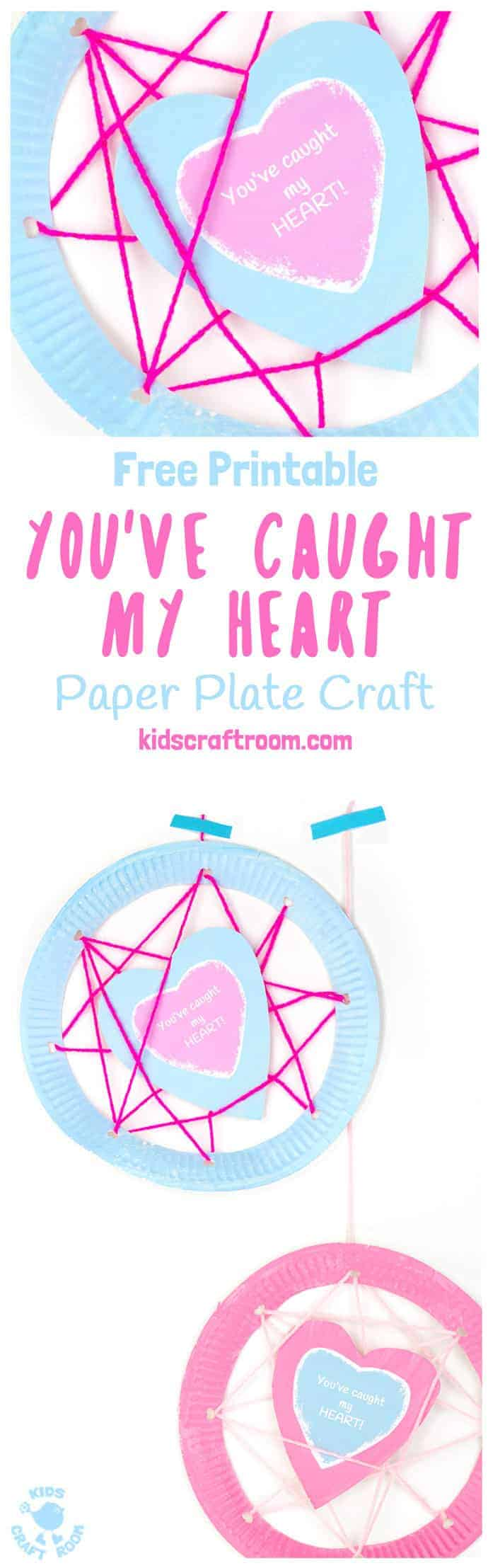 "PAPER PLATE HEART CRAFT ""YOU'VE CAUGHT MY HEART"" (with printable) is adorably cute! A perfect Valentine's Day craft or Mother's Day craft for kids and a great gift for family, friends and teachers. #paperplatecrafts #paperplates #paperplatecraft #valentinesdaycrafts #valentinescrafts #valentinecrafts #heartcrafts #kidscrafts #kidscraftideas #mothersdaycrafts #valentinegift #mothersdaygift #paperplatecrafts #paperplates #paperplatecraft #valentinesdaycrafts"