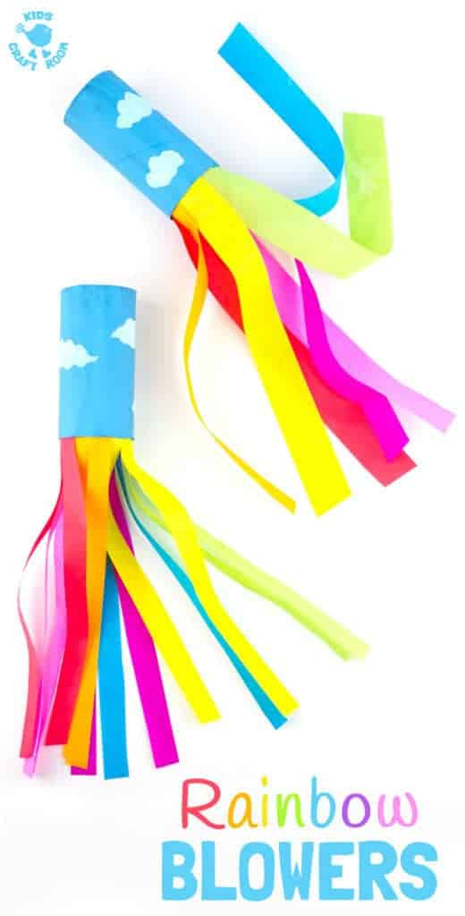 CARDBOARD TUBE RAINBOW BLOWERS are a colourful and fun kids craft! Kids love blowing this rainbow craft to see the streamers swoosh. A super TP roll St Patrick's Day craft or for a weather topic too. Great as a Spring craft or Summer craft too. #rainbow #stpatricks #stpatricksdaycrafts #rainbowcrafts #kidscrafts #craftsforkids #cardboardtubecrafts #kidscrafts #kidsactivities #kidscraftroom #summercrafts #springcrafts #preschoolcrafts #TProllcrafts