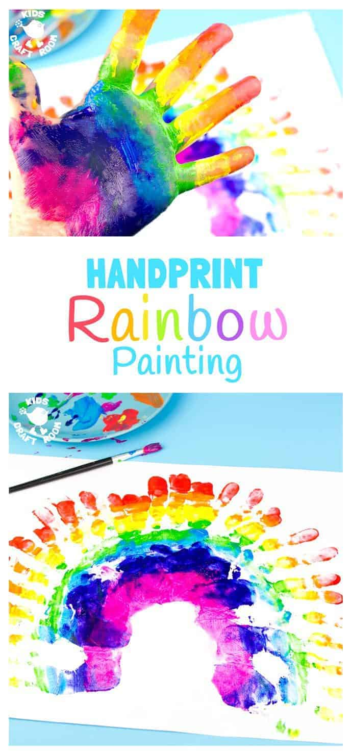 Gorgeous handprint rainbow painting kids craft room for Teaching kids to paint on canvas