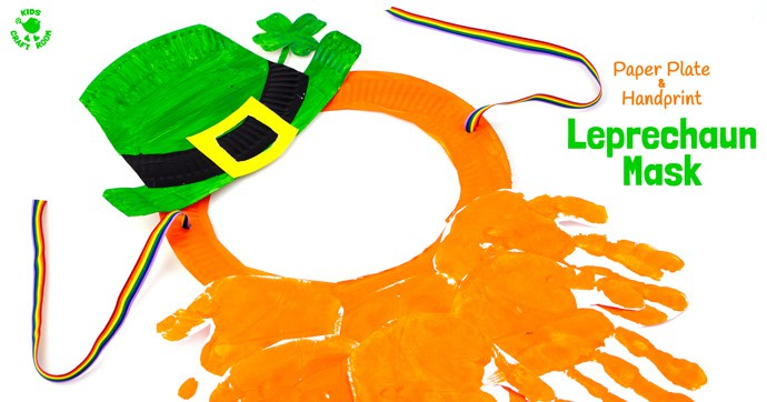 This Paper Plate and Handprint Leprechaun Mask is such a fun St Patrick's Day craft for kids. Easy to make and fun for imaginative play as cheeky leprechauns! The best paper plate craft and handprint craft for St Paddy's Day, so it is!