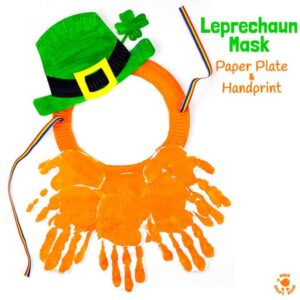 Paper Plate and Handprint Leprechaun Mask