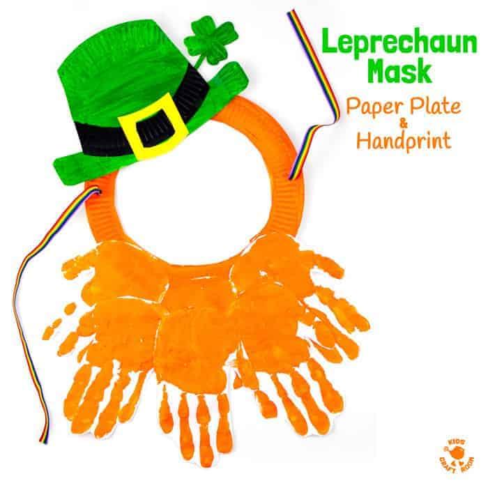 Paper Plate And Handprint Leprechaun Mask Kids Craft Room