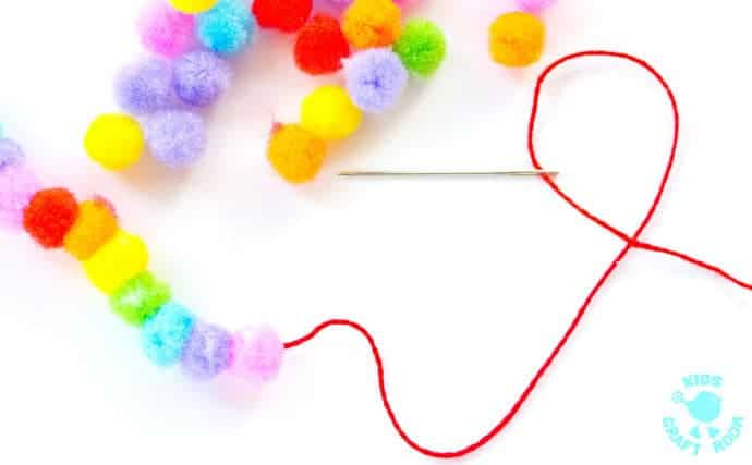 Pom Pom Rainbow Jewellery Craft step 1