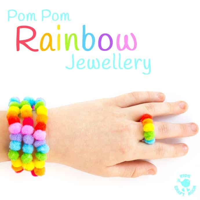 POM POM RAINBOW JEWELLERY CRAFT - Big kids, tweens and teens will love this cute and easy Rainbow Craft. Learn how to make rainbow bracelets, necklaces and rings to wear or gift to friends. A super St Patrick's Day craft with a difference!