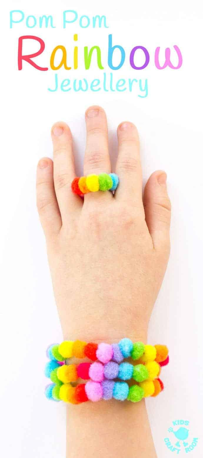 Pom Pom Rainbow Jewellery Craft Kids Craft Room