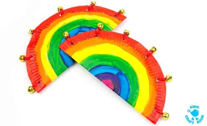 rainbow paper plate tambourine craft kids craft room