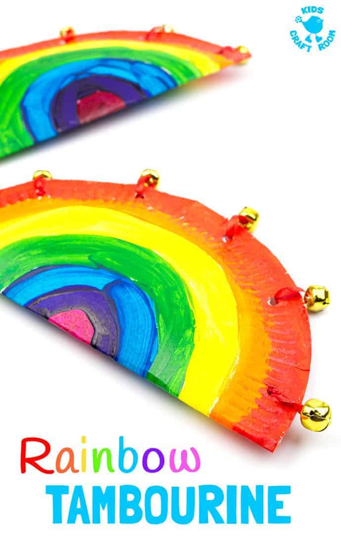 Rainbow Paper Plate Tambourine Craft Kids Craft Room
