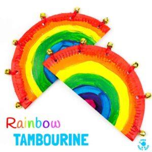 Rainbow Paper Plate Tambourine Craft