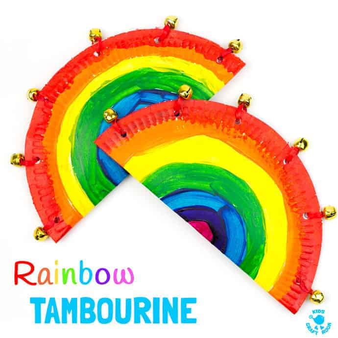 RAINBOW PAPER PLATE TAMBOURINE CRAFT - A fab homemade musical instrument to inspire creativity and fun