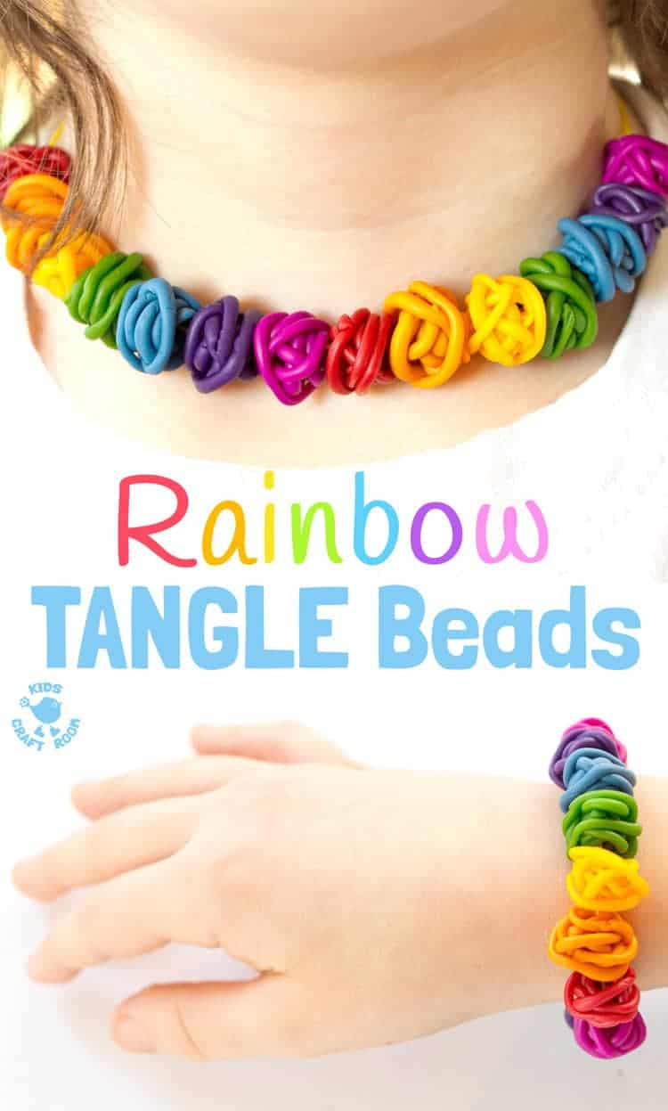 Gorgeous Rainbow Tangle Beads are colourful, fun and quirky. These easy polymer clay beads are great for kids and grown-ups to make and always look amazing! #homemadebeads #beads #jewellery #homemadejewellery #polymerclay #rainbow #rainbowcrafts #kidscrafts #craftsforkids #kidsactivities #kidscraftroom #stpatricksday