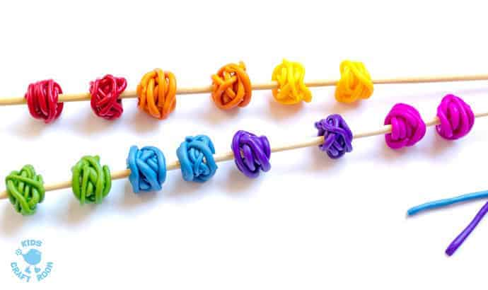 Rainbow Tangle Beads step 4 -Gorgeous Rainbow Tangle Beads are colourful, fun and quirky. These easy polymer clay beads are great for kids and grown-ups to make and always look amazing!
