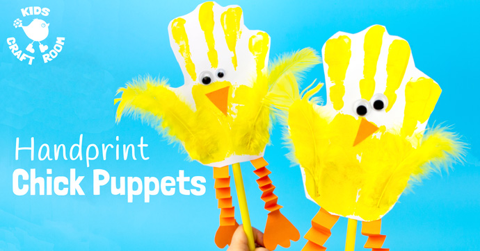 Handprint Chick Puppets are a great Spring craft or Easter craft for kids. This chick craft looks super cute and kids can actually play with them too! Such a fun handprint craft to encourage dramatic play and story telling.