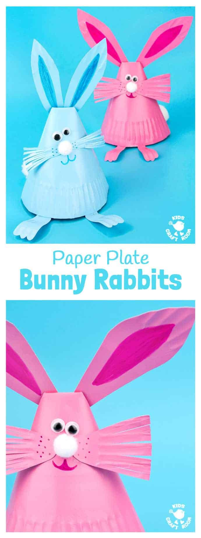 This Paper Plate Rabbit Craft is a super Easter craft or Spring craft for kids. Whether you make them as an Easter bunny craft or for everyday, these cute bouncing bunnies are so much fun! #Easter #eastercrafts #kidscrafts #rabbits #bunny #easterbunny #paperplatecrafts #preschoolcrafts #craftsforkids #kidscraftroom #springcrafts #paperplates