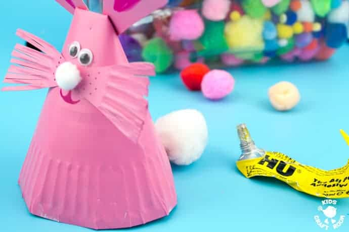 Paper Plate Bunny Rabbit Craft Step 7 -This Paper Plate Rabbit Craft is a super Easter craft or Spring craft for kids. Whether you make them as an Easter bunny craft or for everyday, these cute bouncing bunnies are so much fun!