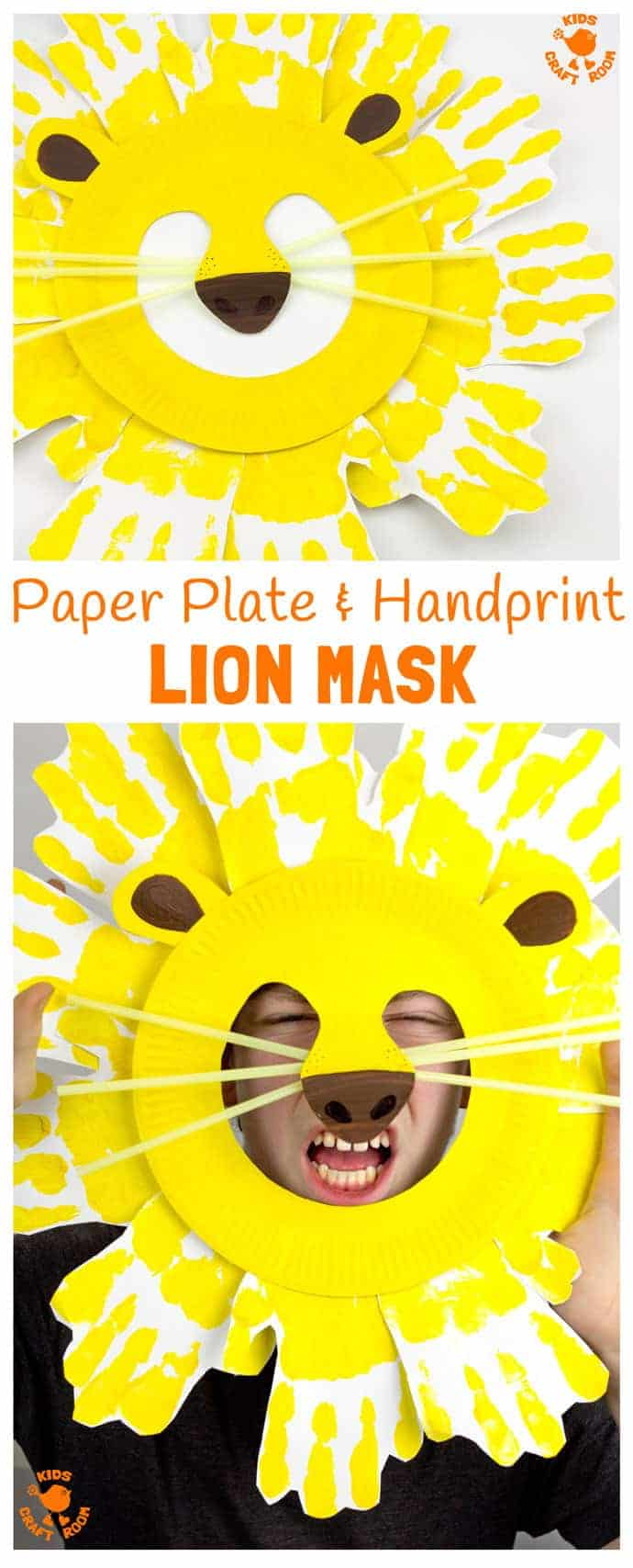 Kids will love adorable Handprint and Paper Plate Lion Masks. These easy paper plate craft animal masks are fun for the dress up box and a great way to inspire dramatic play. #lion #mask #paperplatecrafts #handprintcrafts #lioncrafts #maskcrafts #animalcrafts #lions #masks #homemademasks #kidscrafts #craftforkids #kidscraftroom #junglecrafts #costumes #dramaticplay