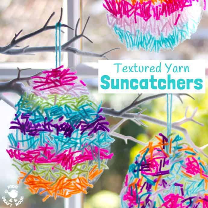 terrific textured yarn easter suncatcher craft kids craft room