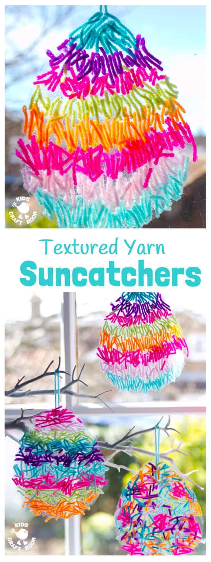 This textured yarn EASTER SUNCATCHER CRAFT is a gorgeous Easter craft or Spring craft for kids of all ages. A simple yarn craft made from scraps, these homemade Easter Egg Suncatchers look stunning in windows or hanging on an Easter tree. These are DIY Easter decorations you'll want to display year after year. #easter #eastercrafts #eastereggs #suncatchers #kidscrafts #craftsforkids #kidscraftroom #yarncrafts #suncatcher #eggcrafts #springcrafts