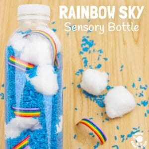 RAINBOW SKY SENSORY BOTTLES are a fun discovery bottle sensory play idea. They bring the beauty and magic of weather indoors to be enjoyed close up again and again. A super Spring and Summer sensory activity for babies, toddlers and preschoolers.