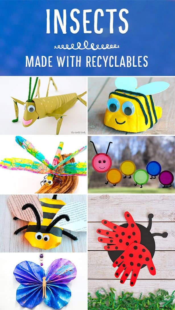 Gorgeous recycled insect crafts for kids. Great for Spring, Summer and Earth Day.