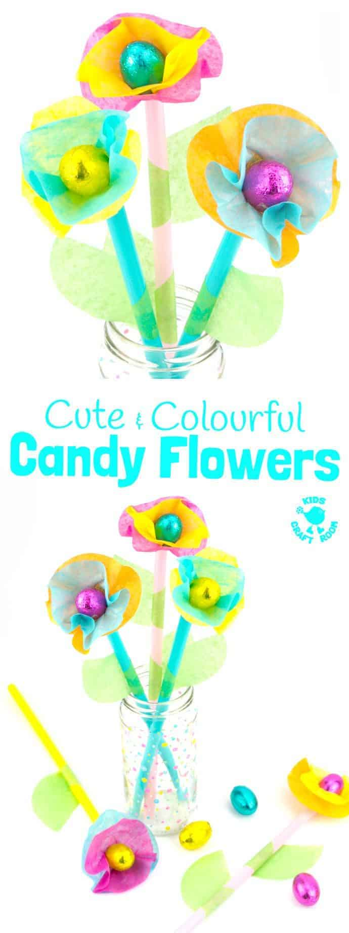 Kids will love this Candy and Tissue Paper Flower Craft. Simple homemade flowers with a centre of delicious candy! Such a fun Easter craft or Spring and Summer craft for kids and they make great homemade gifts or table centre pieces for parties and celebrations. #Easter #eastercrafts #flowercrafts #kidscrafts #craftsforkids #kidscraftroom #flowers #easterflowers #homemadeflowers #diyflowers #paperflowers #springcrafts