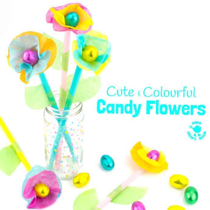 Kids will love this Candy and Tissue Paper Flower Craft. Simple homemade flowers with a centre of delicious candy! Such a fun Easter craft or Spring and Summer craft for kids and they make great homemade gifts or table centre pieces for parties and celebrations.