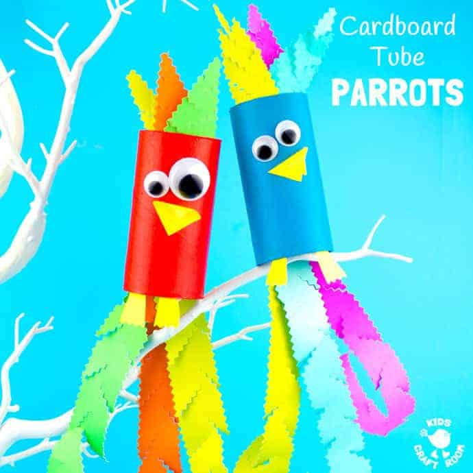Tropical Cardboard Tube Parrot Craft Kids Craft Room