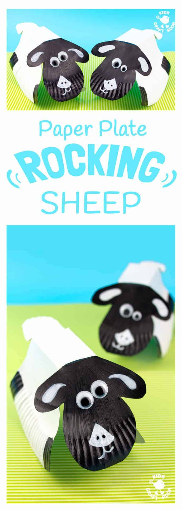 ROCKING PAPER PLATE SHEEP CRAFT - (free template) This rocking sheep or lamb craft is easy to make and so much fun! The movement really brings this animal craft to life. A paper plate craft the kids will enjoy playing with again and again. #springcrafts #summercrafts #sheep #lambs #paperplatecrafts #paperplates #sheepcrafts #lambcrafts #kidscrafts #craftsforkids #kidsactivities #kidscraftroom #printable  #easter #eastercrafts #animalcrafts