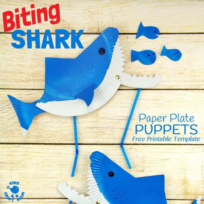MAKE A FUN PAPER PLATE SHARK PUPPET - CHOMP! This interactive shark craft is easy to make using the free printable template. This paper plate craft will inspire hours of dramatic play and storytelling.