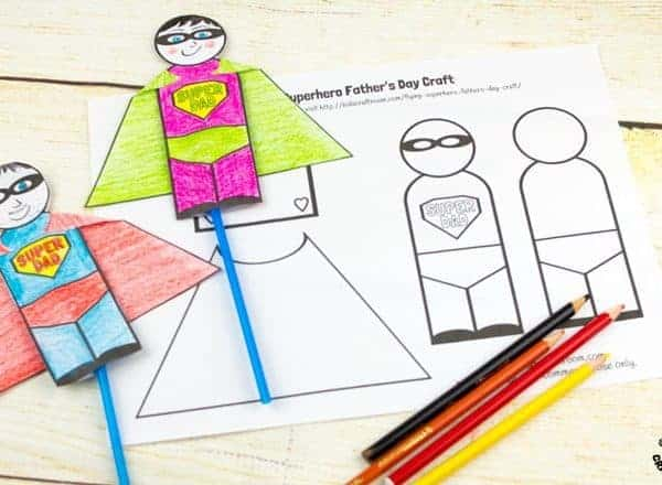 "Step 1-FLYING SUPERHERO FATHER'S DAY CRAFT. Kids and Dads will love this printable superhero craft that really flies! Turn Daddy into ""Super Dad"" with this fun and interactive Father's Day gift idea."