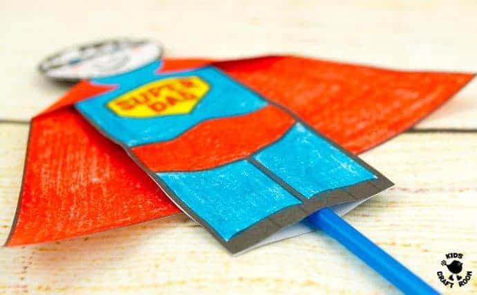 "Step 10 -FLYING SUPERHERO FATHER'S DAY CRAFT. Kids and Dads will love this printable superhero craft that really flies! Turn Daddy into ""Super Dad"" with this fun and interactive Father's Day gift idea."
