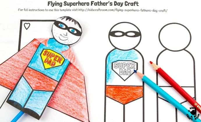 "Step 2 -FLYING SUPERHERO FATHER'S DAY CRAFT. Kids and Dads will love this printable superhero craft that really flies! Turn Daddy into ""Super Dad"" with this fun and interactive Father's Day gift idea."
