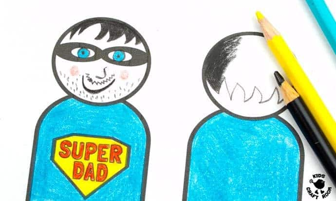 "Step 3 -FLYING SUPERHERO FATHER'S DAY CRAFT. Kids and Dads will love this printable superhero craft that really flies! Turn Daddy into ""Super Dad"" with this fun and interactive Father's Day gift idea."